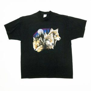 Jerzees Shirt Wolves Full Moon Graphic Tee Black